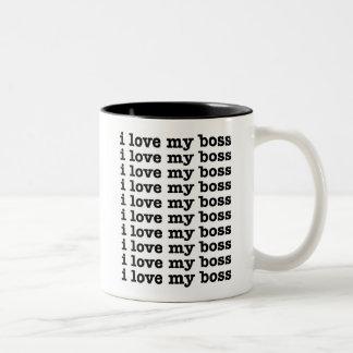 I Love My Boss Two-Tone Mug