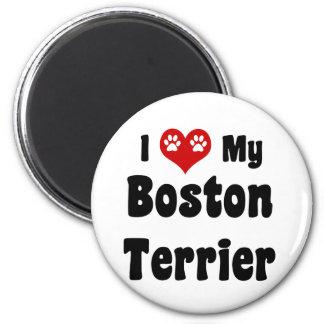 I Love My Boston Terrier 6 Cm Round Magnet