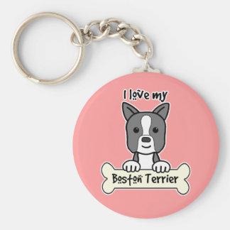 I Love My Boston Terrier Basic Round Button Key Ring
