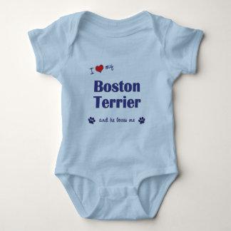 I Love My Boston Terrier (Male Dog) Baby Bodysuit