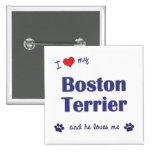 I Love My Boston Terrier (Male Dog) Pinback Button