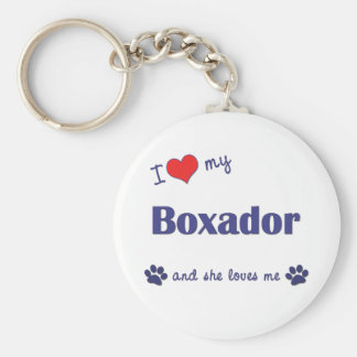 I Love My Boxador (Female Dog) Basic Round Button Key Ring