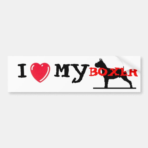 I Love My Boxer Bumper Stickers