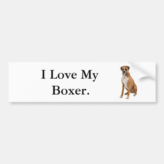 I Love My Boxer Bumper Sticker