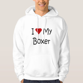 I Love My Boxer Dog Breed Lover Gifts and Apparel Hoodie