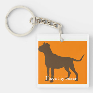 """I love my boxer"" Square Keychain"