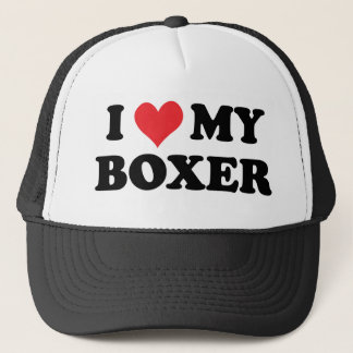 I Love My Boxer Trucker Hat