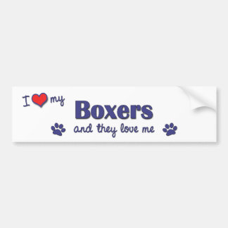 I Love My Boxers (Multiple Dogs) Bumper Sticker