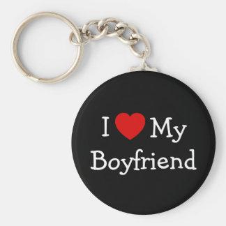 I Love My Boyfriend Basic Round Button Key Ring