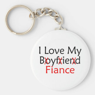 I Love My Boyfriend Fiance Basic Round Button Key Ring