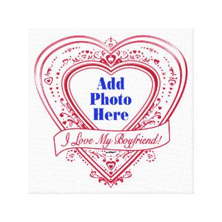 I Love My Boyfriend! Photo Red Hearts Canvas Print