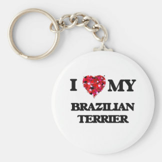 I love my Brazilian Terrier Basic Round Button Key Ring