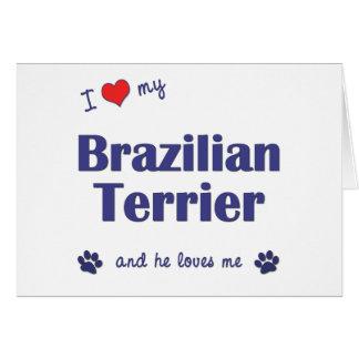 I Love My Brazilian Terrier Male Dog Greeting Card