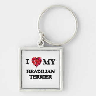 I love my Brazilian Terrier Silver-Colored Square Key Ring