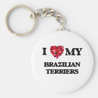 I love my Brazilian Terriers Basic Round Button Key Ring