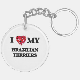I love my Brazilian Terriers Double-Sided Round Acrylic Key Ring