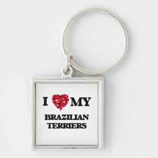 I love my Brazilian Terriers Silver-Colored Square Key Ring