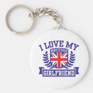 I Love My British Girlfriend Basic Round Button Key Ring