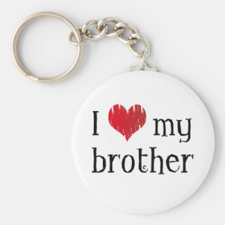 I love my brother basic round button key ring