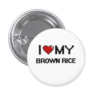 I Love My Brown Rice Digital design 3 Cm Round Badge