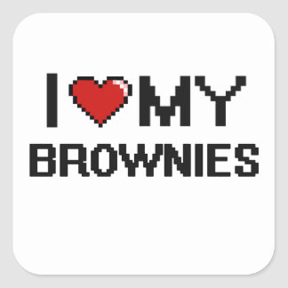I Love My Brownies Digital design Square Sticker