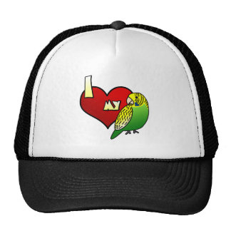 I Love my Budgerigar Hats