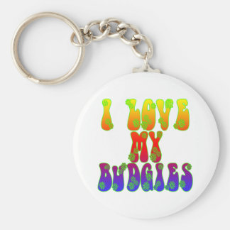 I Love My Budgies Basic Round Button Key Ring