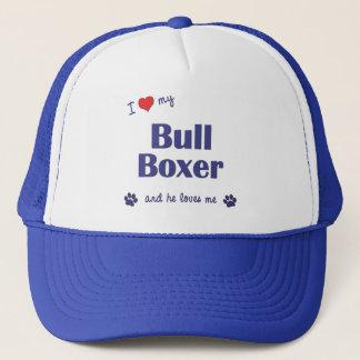 I Love My Bull Boxer (Male Dog) Trucker Hat