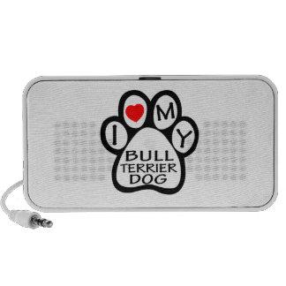 I Love My Bull Terrier Dog Travel Speakers
