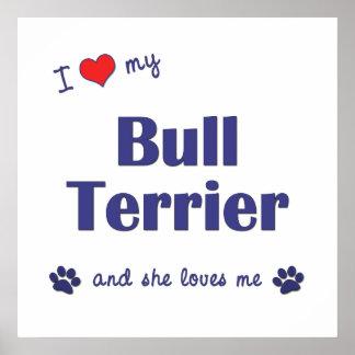 I Love My Bull Terrier (Female Dog) Poster