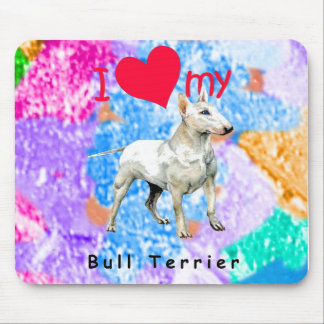 I Love My Bull Terrier Mouse Pads