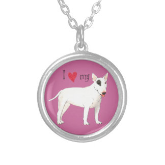I Love my Bull Terrier Round Pendant Necklace