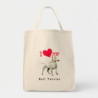 I Love My Bull Terrier Bags