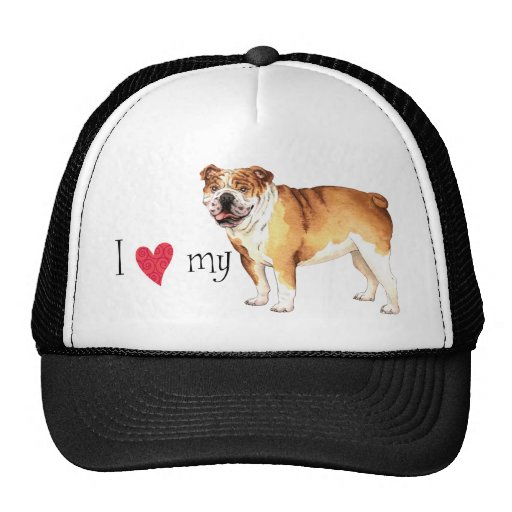I Love my Bulldog Mesh Hat