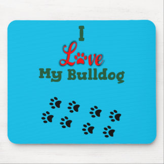 I Love My Bulldog Mousepad with Paw Prints