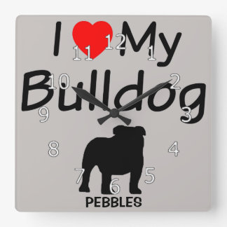 I Love My Bulldog Square Wall Clock