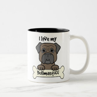 I Love My Bullmastiff Two-Tone Coffee Mug