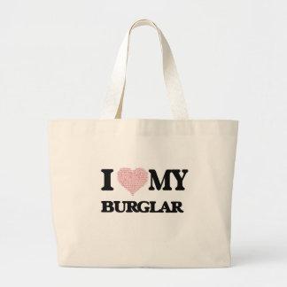 I love my Burglar (Heart Made from Words) Jumbo Tote Bag