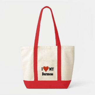 I Love My Burmese Cat Merchandise Tote Bag