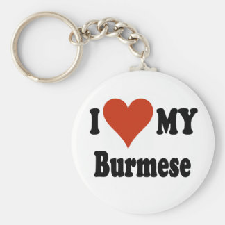 I Love My Burmese Cat Merchandise Basic Round Button Key Ring