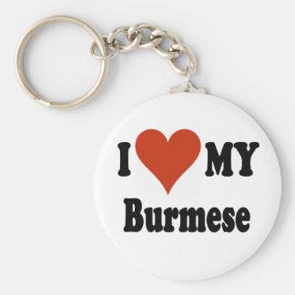 I Love My Burmese Cat Merchandise Key Ring