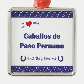 I Love My Caballos de Paso Peruano (Multi Horses) Silver-Colored Square Decoration