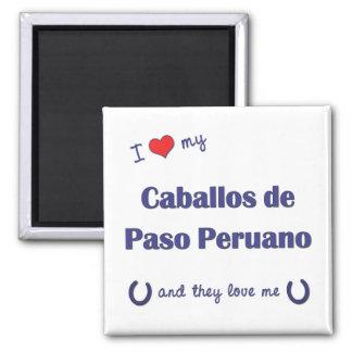 I Love My Caballos de Paso Peruano (Multi Horses) Square Magnet