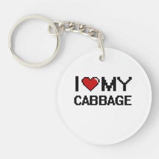 I Love My Cabbage Digital design Single-Sided Round Acrylic Key Ring