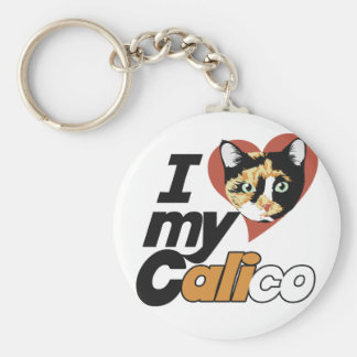 I Love my CALICO cat Basic Round Button Key Ring
