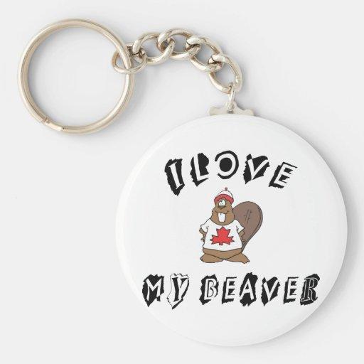 I Love My Canadian Beaver Keychains