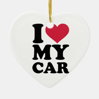 I love my car ceramic heart decoration