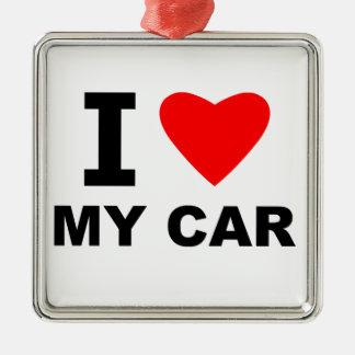 I Love My Car Silver-Colored Square Decoration