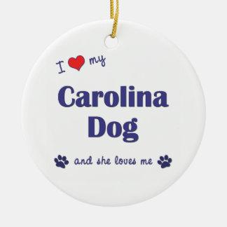 I Love My Carolina Dog (Female Dog) Christmas Ornament