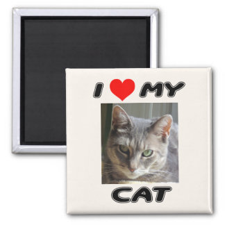 I LOVE MY CAT - ADD YOUR OWN PHOTO - MAGNET